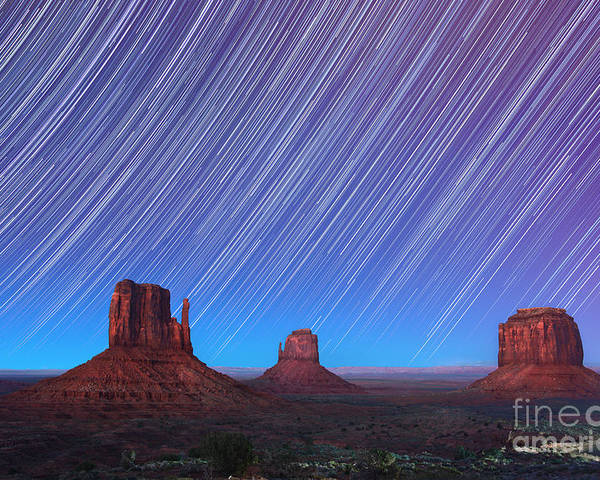 Abstract Poster featuring the photograph Monument Valley Star Trails by Jane Rix