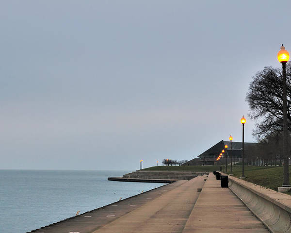 Horizontal Poster featuring the photograph Moody And Lonely Lakefront by Bruce Leighty