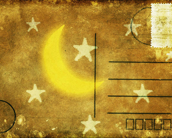 Address Poster featuring the photograph Moon And Star Postcard by Setsiri Silapasuwanchai