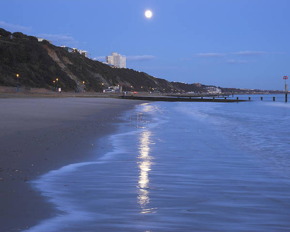 Horizontal Poster featuring the photograph Moon Reflecting In The Sea, Bournemouth Beach, Dorset, England, Uk by Peter Lewis