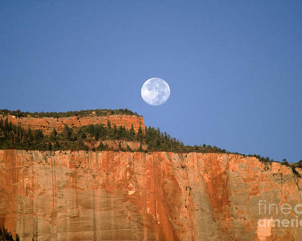 Zion National Park Poster featuring the photograph Moonrise Over East Temple - Zion by Sandra Bronstein