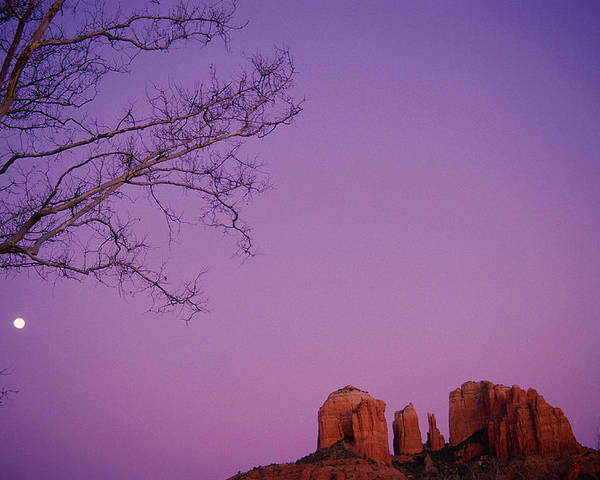 Horizontal Poster featuring the photograph Moonrise Over Oak Creek Canyon by Stockbyte