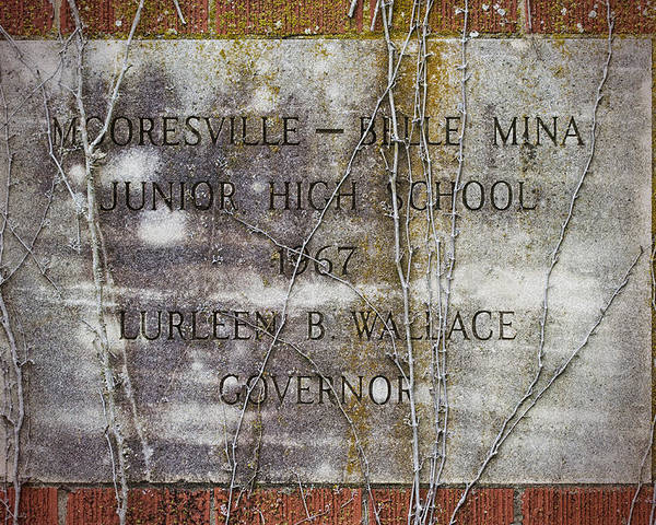 Mooresville Poster featuring the photograph Mooresville - Belle Mina Junior High School 1967 by Kathy Clark