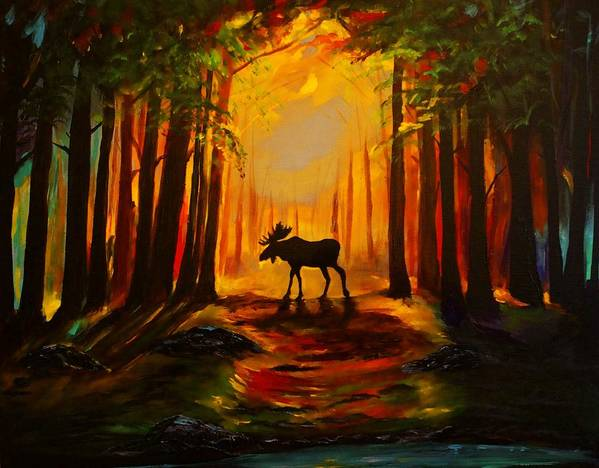 Moose Poster featuring the painting Moose Sunset by Leslie Allen