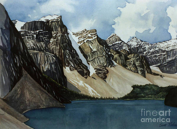 Moraine Lake Poster featuring the painting Moraine Lake by Scott Nelson