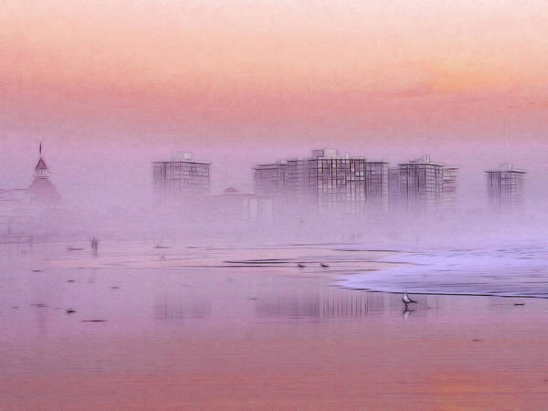 Sunrise Sun Seagull Bird Beach Ocean Waves Hotel Building Coast Sand Water Fog Mist Misty Spume Haze Sky Color Colorful Painting Expressionism Impressionism Art Seascape Landscape Skyline Poster featuring the painting Morning At The Beach by Steve K
