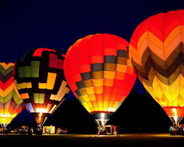 Hot Air Balloons Poster featuring the photograph Morning Glow by Michael Ayers