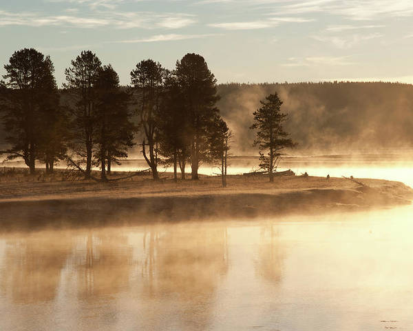 Horizontal Poster featuring the photograph Morning Mists by Corinna Stoeffl, Stoeffl Photography