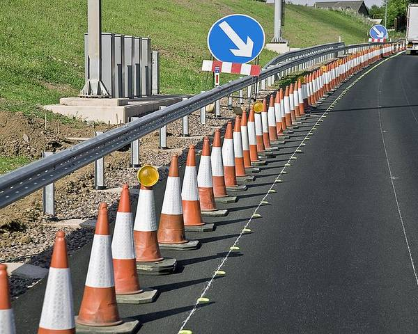 Equipment Poster featuring the photograph Motorway Traffic Cones by Linda Wright