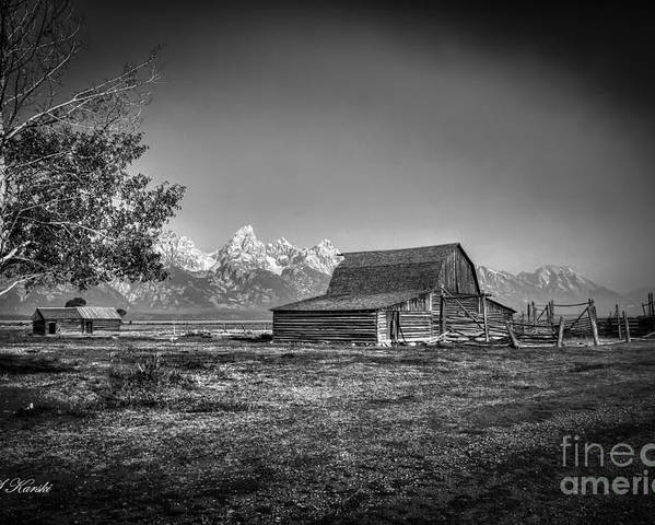 Grand Tetons Poster featuring the photograph Moulton Barn Bw by Sue Karski