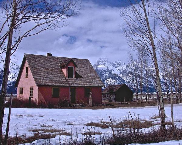 Grand Teton National Park Poster featuring the photograph Moulton's Pink House On Mormon Row by Eric Tressler