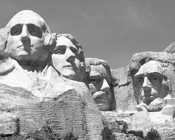 Mount rushmore poster featuring the photograph mount rushmore in black and white by living color photography