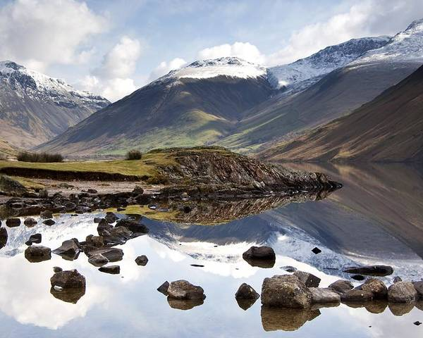 Cumbria Poster featuring the photograph Mountains And Lake At Lake District by John Short