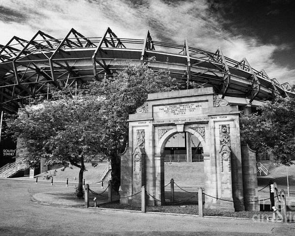 Murrayfield Poster featuring the photograph Murrayfield Stadium With War Memorial Arch Edinburgh Scotland by Joe Fox
