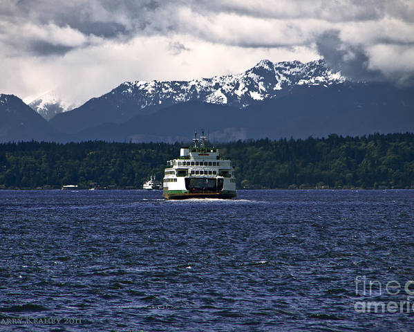 Seattle Poster featuring the photograph MV Kaleetan Ferry by Larry Keahey