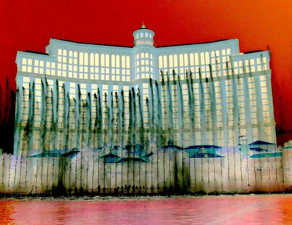 Las Vegas Poster featuring the digital art My Vegas Bellagio 1 by Randall Weidner