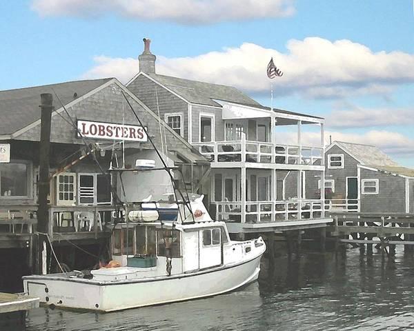 Nantucket Poster featuring the digital art Nantucket Lobstering by Lin Grosvenor
