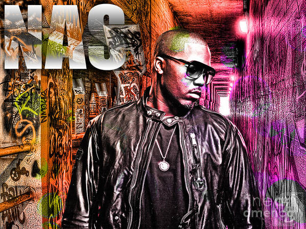 Nasir Jones Poster featuring the digital art Nas by The DigArtisT