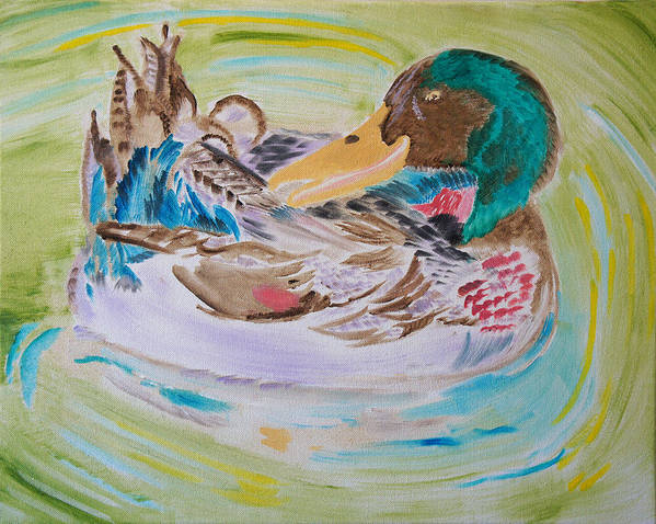 Duck Poster featuring the painting Nature's Music by Meryl Goudey