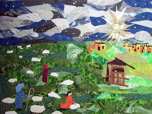 Fabric Poster featuring the tapestry - textile 'neath The Brightest Star by Charlene White