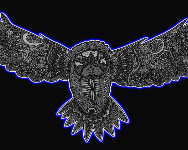 Owl Poster featuring the mixed media Neon Owl by Karen Elzinga