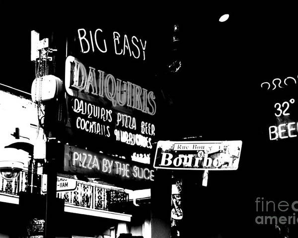 Travelpixpro New Orleans Poster featuring the digital art Neon Sign Bourbon Street Corner French Quarter New Orleans Black And White Conte Crayon Digital Art by Shawn O'Brien