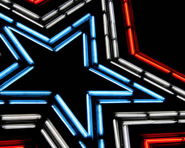 Neon Poster featuring the photograph Neon Star by Darren Fisher