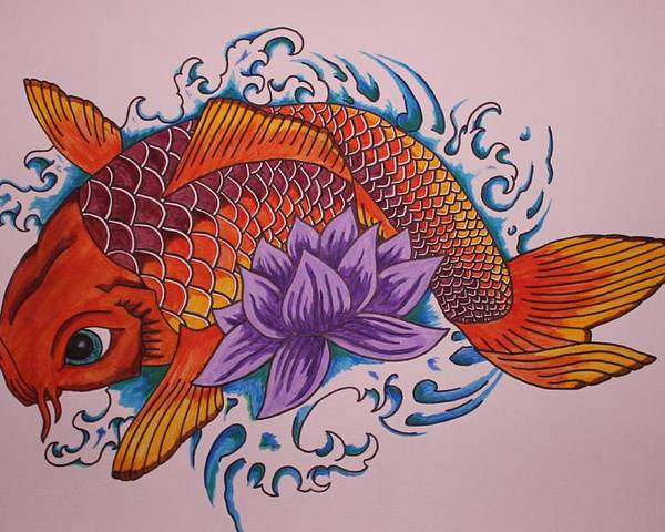 Koi Fish Poster featuring the painting New Beginnings by Kat Starr