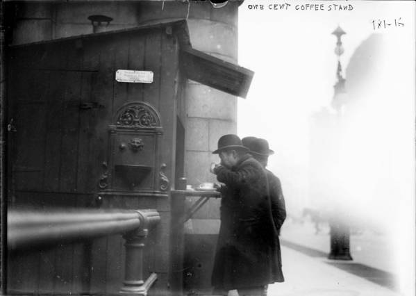 1900s Poster featuring the photograph New York City, Man Drinking Coffee by Everett