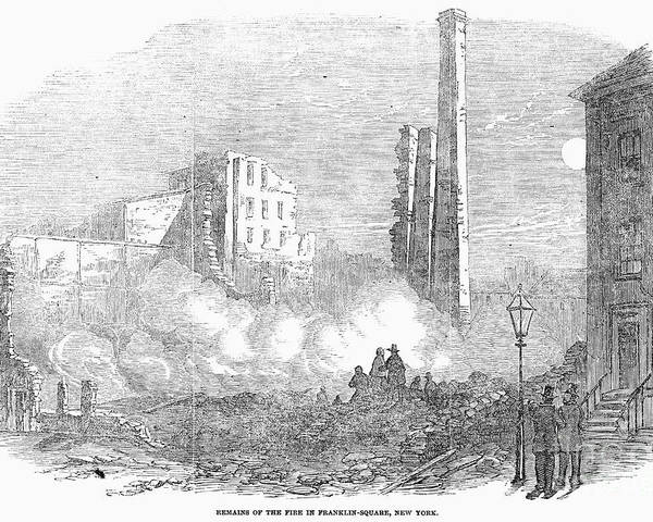 1853 Poster featuring the photograph New York: Fire, 1853 by Granger