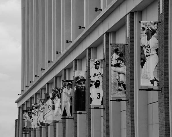 Shea Stadium Poster featuring the photograph New York Mets Of Old In Black And White by Rob Hans