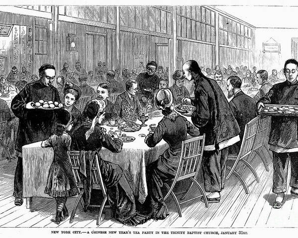 1881 Poster featuring the photograph New York: New Years Party by Granger