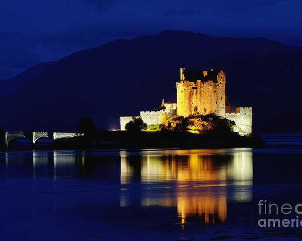 Eilean Poster featuring the photograph Night Falls On Eilean Donan Castle - D002114 by Daniel Dempster