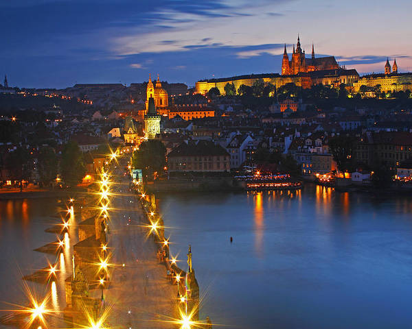 Boat Poster featuring the photograph Night Lights Of Charles Bridge Or by Trish Punch