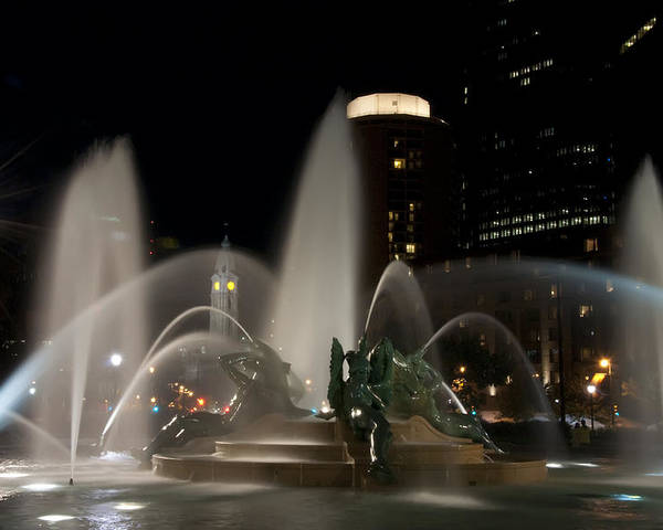 Night View Of Swann Fountain Poster featuring the photograph Night View Of Swann Fountain by Bill Cannon