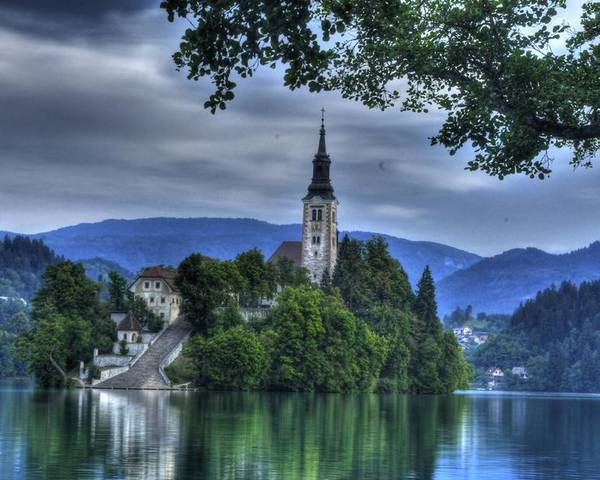 Lake Bled Poster featuring the photograph ninty-nine steps to the Chuch by Don Wolf
