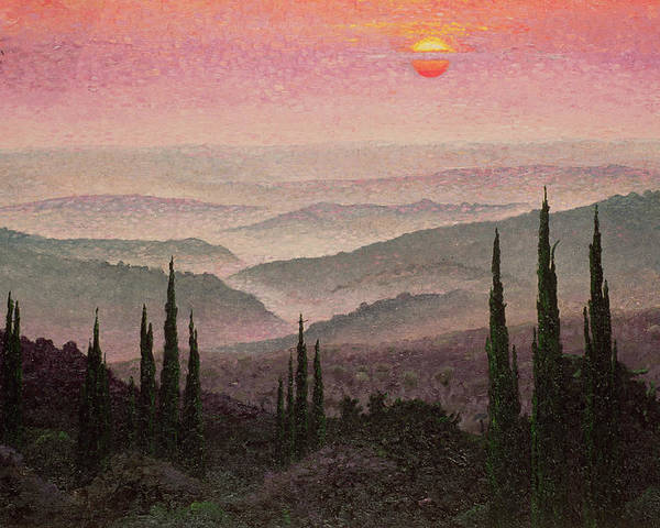 Landscape; Sunset; Mist; Cypress; Hills; Panorama; Hill; Tree; Trees; Green; Grass; Grassy; Bush; Bushes; Sun; Red Sky; Orange Sky Poster featuring the painting No. 126 by Trevor Neal