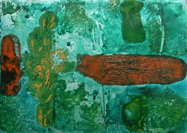 Abstract Poster featuring the painting No.361 by Vijayan Kannampilly