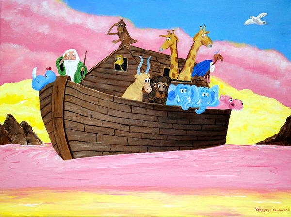 Noah's Ark Poster featuring the painting Noah's Ark by Christie Minalga