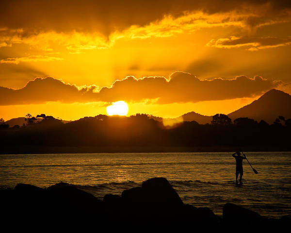 Paddleboard Poster featuring the photograph Noosa Sunset Paddle Board 1 by Tony Irving