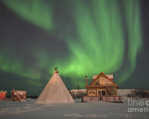 Yellowknife Poster featuring the photograph Northern Lights Above Village by Jiri Hermann