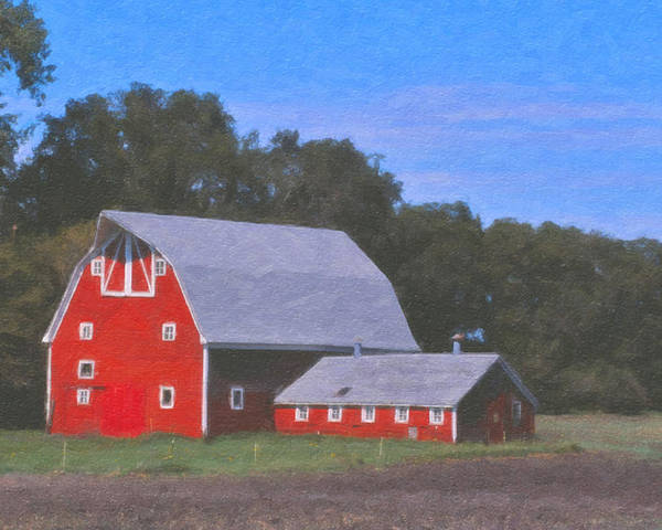Red Poster featuring the painting Northwood by Roger Bee