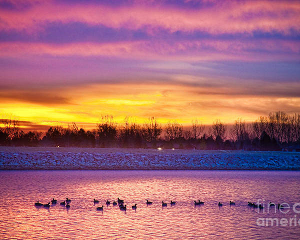 Sunrise Poster featuring the photograph November Lagerman Reservoir Sunrise by James BO Insogna