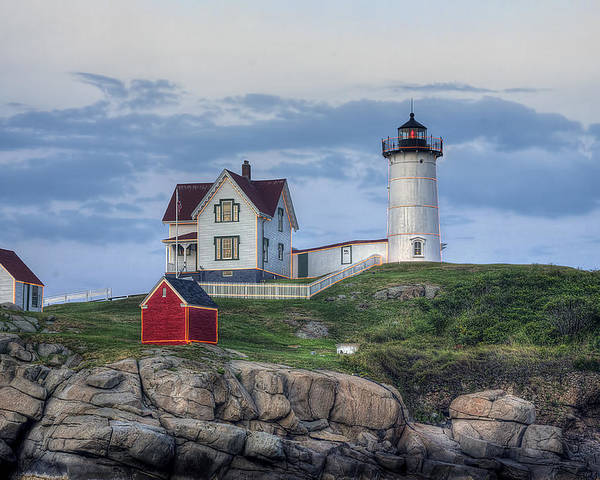 Nubble Poster featuring the photograph Nubble Light At Dusk by Eric Gendron