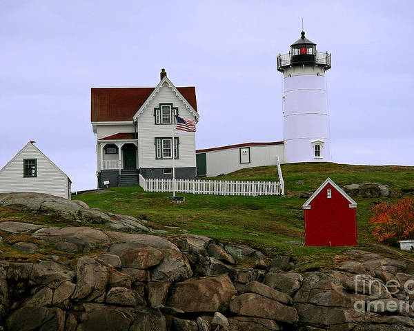 Nubble Light Poster featuring the photograph Nubble Lighthouse by Brenda Giasson