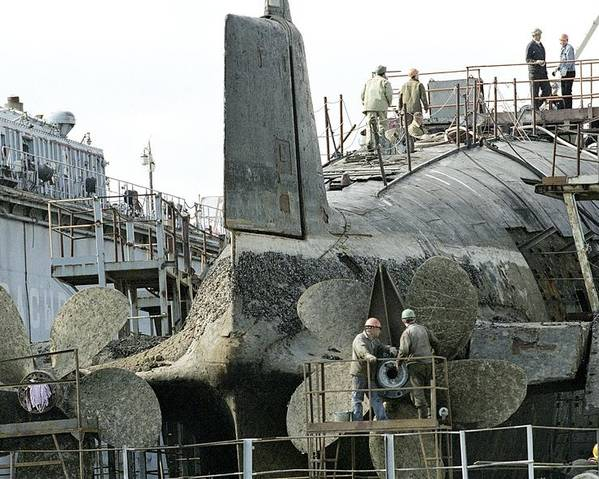 Human Poster featuring the photograph Nuclear Submarine Maintenance by Ria Novosti