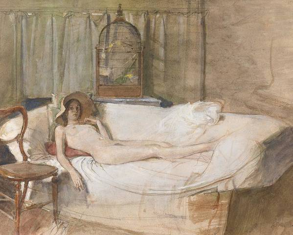 Nude Poster featuring the drawing Nude On A Sofa by John Ward