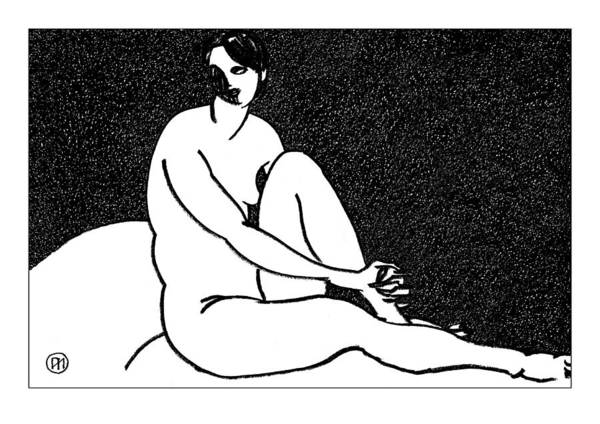 Nude Poster featuring the drawing Nude Sketch 69 by Leonid Petrushin