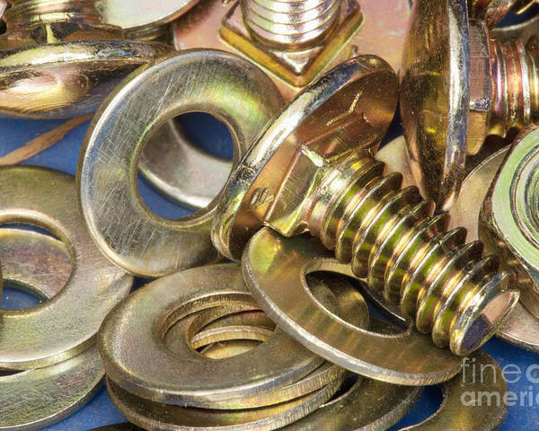 Alloy Poster featuring the photograph Nuts Bolts And Washers by Shannon Fagan
