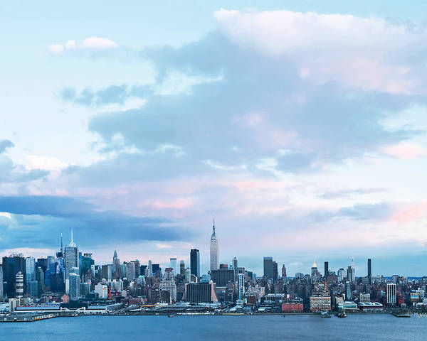 New York Skyline Sundown Poster featuring the photograph Nyc-sundown Blue I by Regina Geoghan